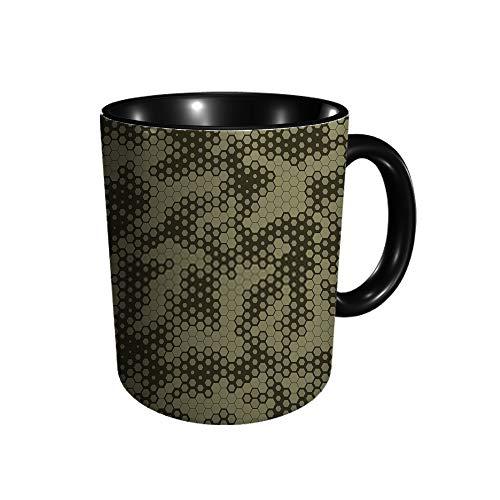 Taza de cerámica con diseño de piel de serpiente de camuflaje militar, taza de café, taza de té, para oficina y hogar, regalo de salud, capacidad máxima 11 oz, impresión completa