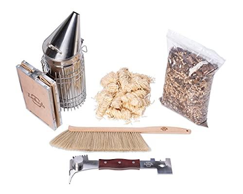 Imkado Imker Set XL - Premium Edelstahl-Smoker, Bienenbesen, Multifunktionswerkzeug/Stockmeißel, Rauchstoff und Bio-Anzünder - Einsteiger-Set Imkereibedarf