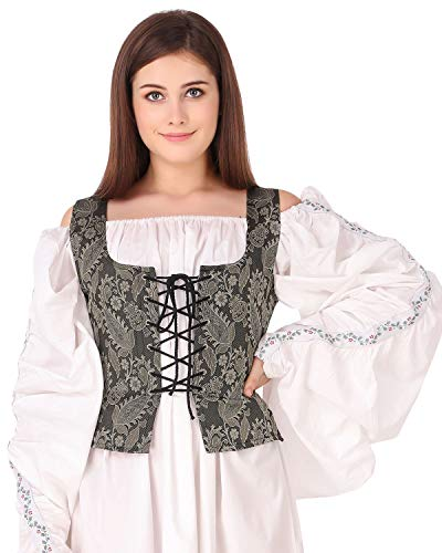 Pirate Wench Peasant Renaissance Medieval Costume Brocade Corset Bodice (Brocade (Fabric# 115)) (X-Large)