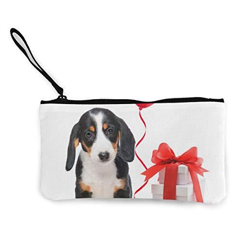 Beagle rode liefde ballon geschenkdoos schattig canvas verandering munt portemonnee tas zak rits houder portemonnee pols riem make-up potlood geval voor vrouwen meisjes aangepast