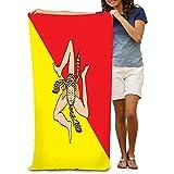 Yocmre Strandtuch Polyester Samt Strandtücher Flagge regione Sizilien Italien Europa verfügbar Flagge Sizilien Happy Painting