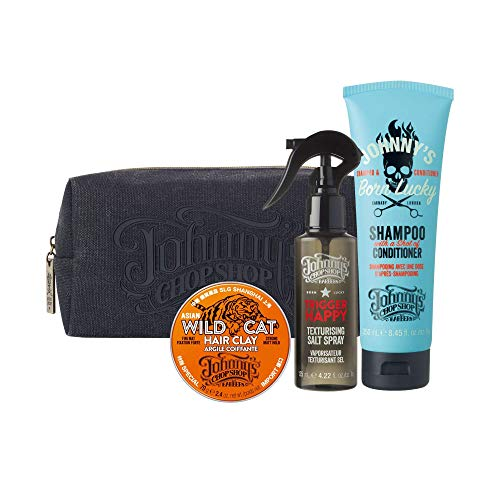 Johnny's Chop Shop Big Style Gift Set Bundle with free Wash Bag for Travel includes 2 in 1 Shampoo, Wild Cat Hair Clay & Trigger Happy Salt Spray 1 each ($41.97 Value)