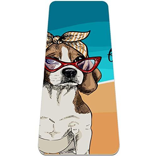 Esterilla Yoga Mat Antideslizante Profesional - Vector Retrato de beagle perro con gafas de sol retro bandana - Colchoneta Gruesa para Deportes - Gimnasia Pilates Fitness - Ecológica