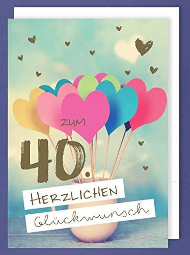Riesen Karte 40 Geburtstag Grußkarte Foliendruck Viele Herzen A4