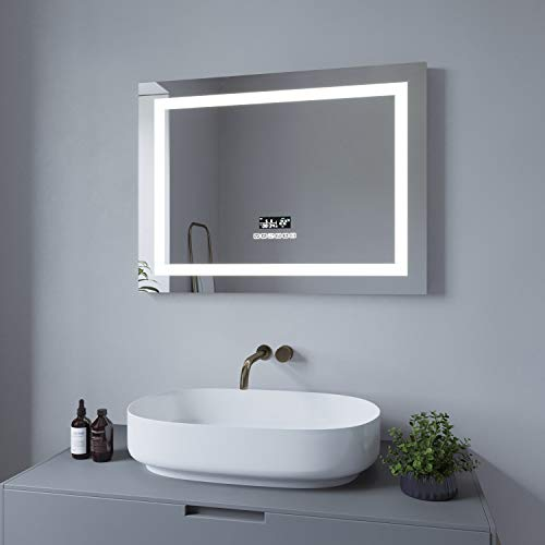 AQUABATOS 80x60cm LED Badspiegel Wandspiegel Badezimmerspiegel mit Beleuchtung Uhr Bluetooth Lautsprecher Dimmbare Farbtemperatur Kaltweiß 6400K Warmweiß 3000K Spiegelheizung antibeschlag IP44 CE