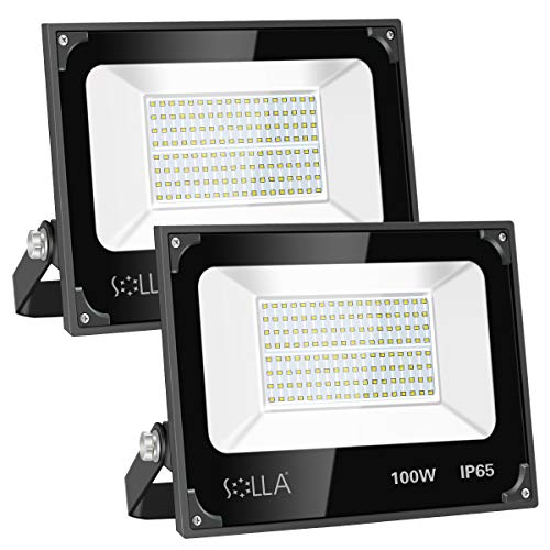 2 Pack SOLLA 100W Led Flood Light, 8000lm 6000K Daylight White Security Light Exterior Flood Lighting, Outdoor Indoor Lighting Fixture Landscape Floodlight Spotlight for Yard, Garden, Garage, Rooftop