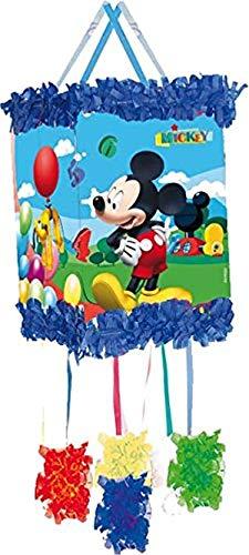 Pinata * MICKEY MOUSE * - als Zugpinata für bis zu 7 Kinder - plus Maske. Wird mit Süssigkeiten oder Spielen gefüllt, ca. 28cm Durchmesser // Piñata Mexiko Kinder Geburtstag Kindergeburtstag Spiele Spass Micky Maus Disney