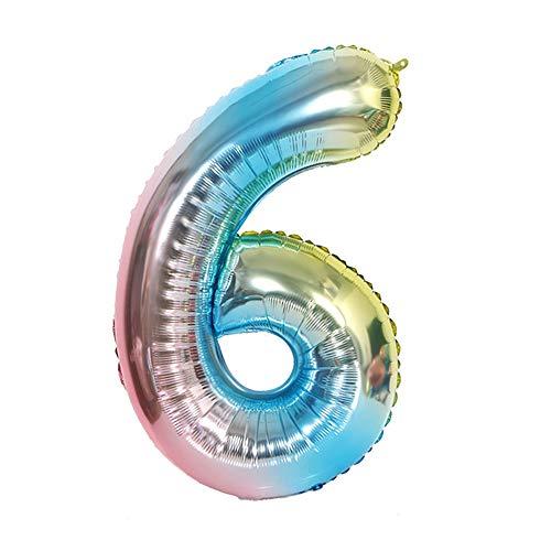 Ponmoo Blau Luftballon Zahlen 6. 0 bis 100 Riesige Folienballon Zahl Geburtstagsdeko, Luftballon 6. Geburtstag Folienluftballons, Dekoration Birthday Zahlenballon 6 Blau