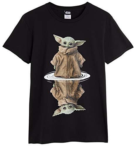 Camiseta Star Wars de Baby Yoda. Diseño The Mandalorian y The Child. Manga corta, color blanco y negro, 100 % algodón. Producto oficial. Regalo para hombres, mujeres y adolescentes Negro Negro ( L