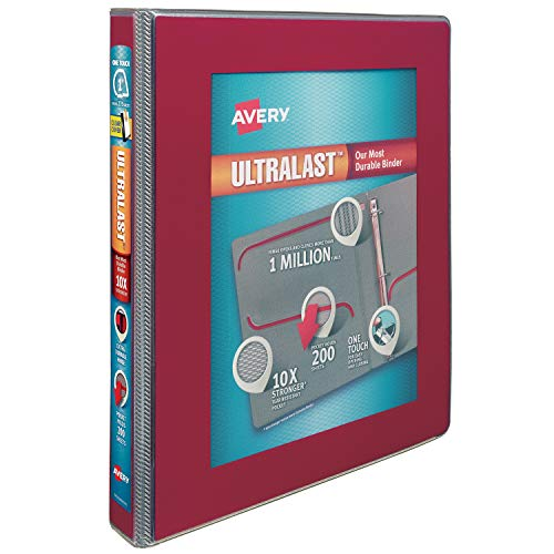 Avery 1 Ultralast 3 Ring Binder, One Touch Slant Ring, Holds 8.5 x 11 Paper, 1 Red Binder (79736)