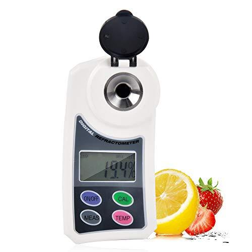 El refractómetro digital, portátil de bolsillo Brix medidor electrónico con pantalla LCD de azúcar, jugo de la fruta del alimento multifunción refractómetro probador con compensación de temperatura