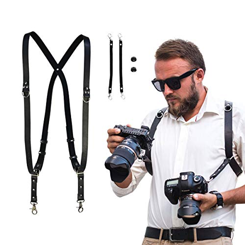 Leather Adjustable Dual Shoulder Camera Harness Strap Sling (M68)