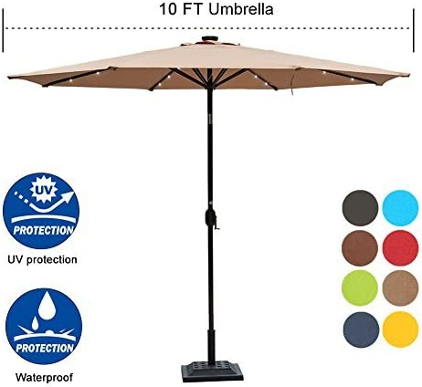 Sundale Outdoor 10 ft Solar Industry No. 1 Powered Patio Brand new LED Lighted Umbrell 24