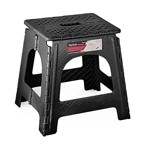 Jaydear Folding Step StoolFoldable Step Stool for Kids or Adult Safe Kitchen Portable Stepping Stools Lightweight Footstool Non Slip Super Sturdy Folding Stool Black 16 inch