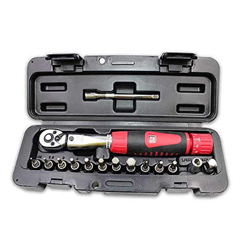 QYQS Mountain bike repair tool, 1/4 bicycle special window type torque wrench, 2-24N.m adjustable torque wrench,15piece set
