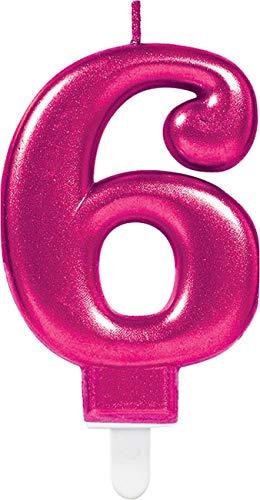Amscan 9901774 Pink Party taartkaars kaars glinsterend cijfer 6