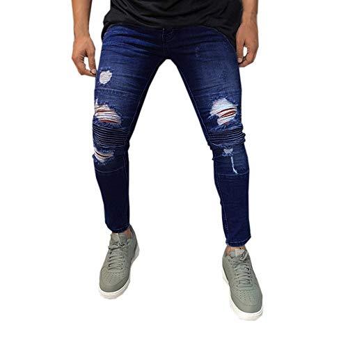 Geili Jeans Hose Herren Lang Destroyed Löchern Jeanshosen Skim Fit Strech Skinny Jeans Männer Vintage Wasserwäsche Used Look Denim Pants Freizeithose Arbeitshose S-3XL