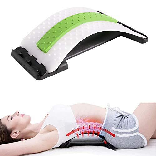 Geagodelia Rückenstrecker Rückendehner Ergonomisch designter Rücken-Trainer Rückenmassage Wirbelsäulenstrecker Gegen Verspannung und Rückenschmerz (Weiß & Grün)