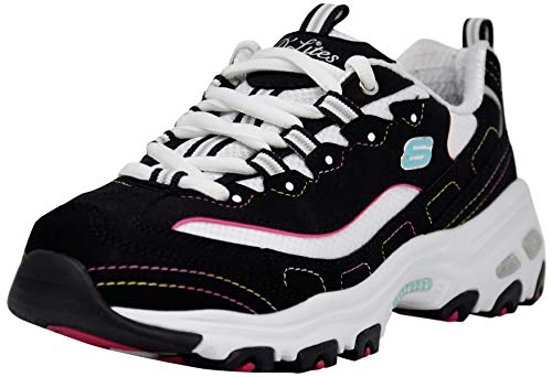 Skechers Women's D'Lites Original Lace-Up Sneaker, Black/Multi, 9 M US