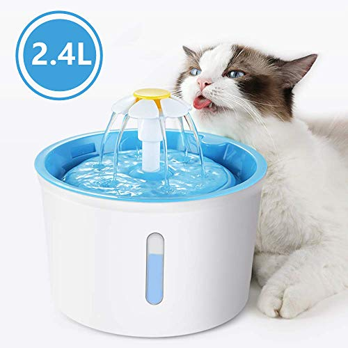 HappYard Cat Water Fountain - 80oz/2.4L Cat Drinking Fountain Dog Water Dispenser with Replacement Filters, Quiet Cat Mate Pet Fountain with Flower, Pet Fountains for Cats and Small Animals