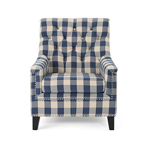 Christopher Knight Home Paul Fabric Tufted Club Chair, Blue Checkerboard, Dark Brown