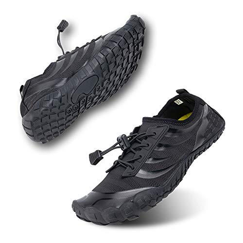 Zapatos de Agua Hombres Mujer Buceo Surf Zapatillas Trail Running Barefoot EscarpinesPiscina Playa Deportes Acuáticos Negro-1 42 EU