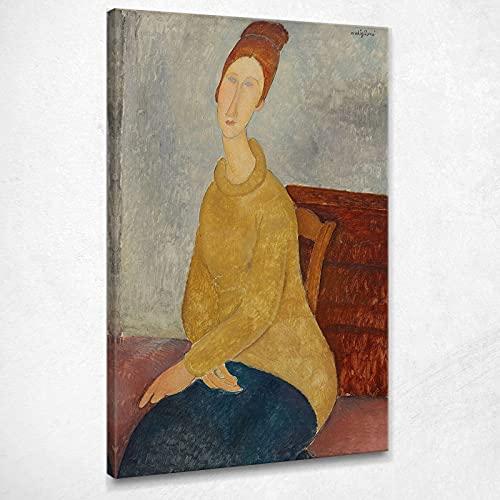 Jeanne Hebuterne con Maglia Gialla Modigliani Amedeo Quadro Stampa Amd18, 75x45 cm