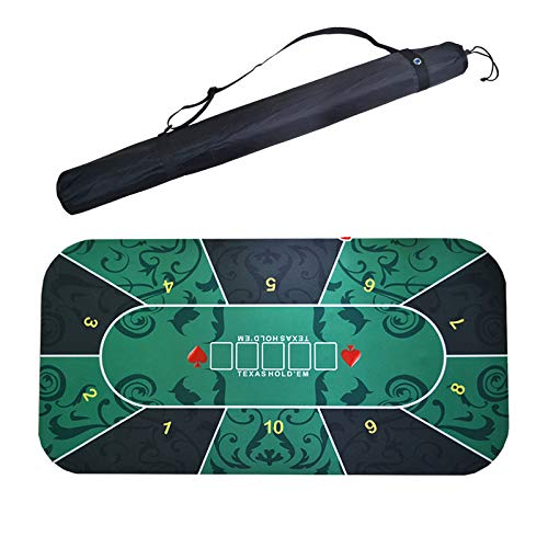 RLQ Texas Holdem Poker Tabletop Mat, Tabletop Casino Filzlayout Für Themenparty, Poker Night, Spendenaktionen Und Versammlungen