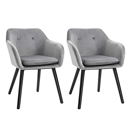 HOMCOM Modern Upholstered Fabric Bucket Seat Dining Arm Chairs Padded Set of 2 Modern Style Dining Room Living Room Furniture - Grey