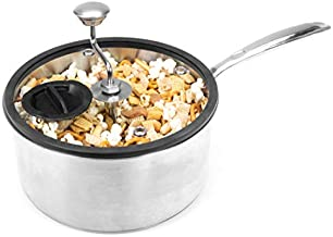Zippy Pop Original Stainless Steel Stovetop Popcorn Popper, 5-1/2-Quart, NEW 2020 Model, Glass Lid with Silicone Rim, Dishwasher Safe, Easily Make Classic or Flavored Popcorn, Recipes Included