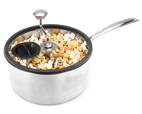 Zippy Pop Original Stainless Steel Stovetop Popcorn Popper, NEW 2020 Model, Glass Lid with Silicone Rim, Dishwasher Safe, Easily Make Classic or Flavored Popcorn, Recipes Included, 5-1/2 Quart Capacity