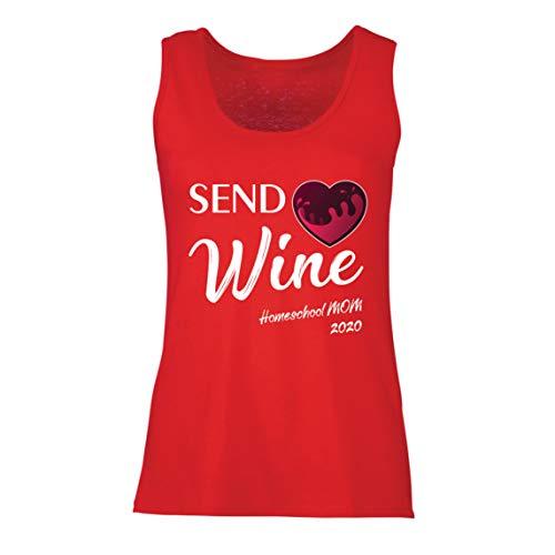 lepni.me Damen Tank-Top Wein senden Quarantäne Heimschule Mama 2020 (XX-Large Rot Mehrfarben)