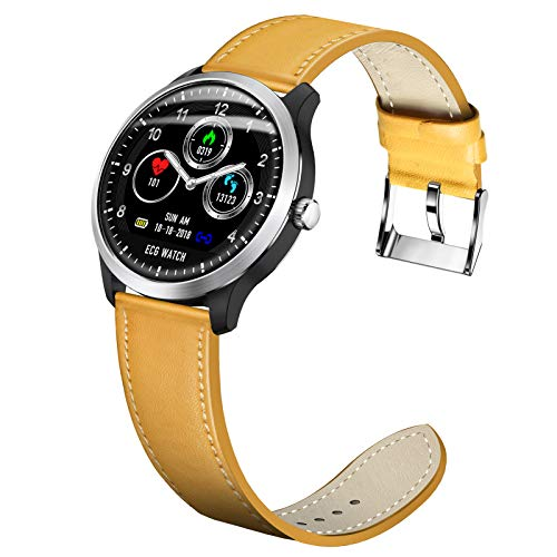 LTLJX Smart Watch, Runder 1.22'' Touchscreen wasserdichte Smartwatch für Frauen, Herren Fitness Tracker mit Herzfrequenz und Schlaf-Pedometer, Armband für IOS Android,Gelb