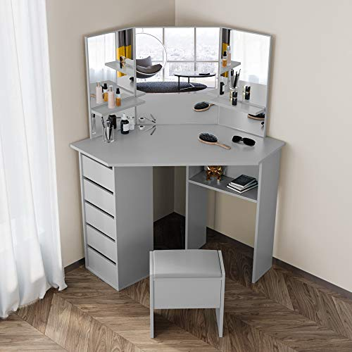 FREDEES Vanity Table Set Corner Curved Dressing Table Makeup Desk with 5 Drawer 3 Mirror Dressing Table for Bedroom (Grey)
