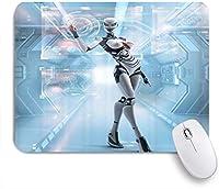 KAPANOUマウスパッド 未来型ロボットノベルティファンタジースペース ゲーミング オフィス おしゃれ 防水 耐久性が良い 滑り止めゴム底 ゲーミングなど適用 マウス 用ノートブックコンピュータマウスマット