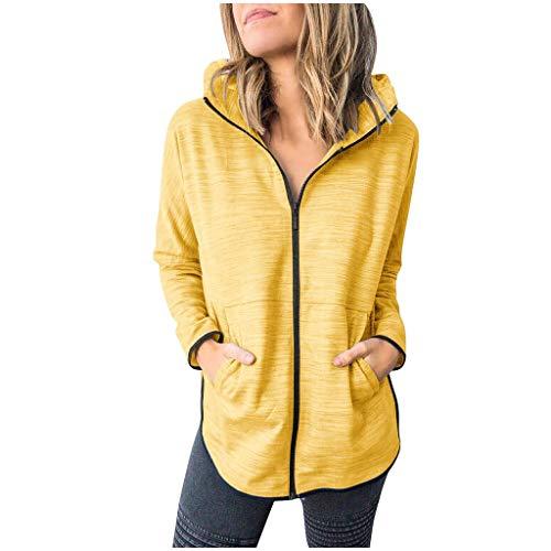 Geilisungren Damen Sport Hoodie Frauen Casual Einfarbige mit Kapuze Sweatshirt Reißverschluss Sweatjacke Dünn Kapuzenpullover Lose Kapuzenjacke Outwear mit Taschen(Gelb,XL)