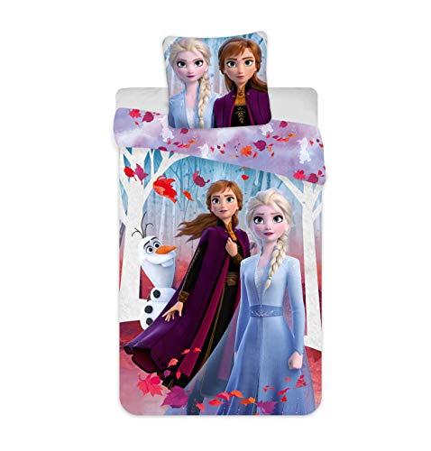 Disney - Parure da letto Frozen Leaves, 100% cotone, copripiumino 140 x 200 cm + federa 65 x 65 cm, motivo: Frozen