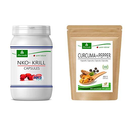 MoriVeda® Produktpaket   NKO® Krillöl Softgel Kapseln und Curcuma + Pepper Kapseln   Nährstoffpaket für Körper und Geist   je 90 Stück