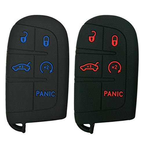 2Pcs Coolbestda Silicone Smart Key Fob Skin Cover Case Protector Keyless Jacket Remote Holder for Jeep Grand Cherokee Dodge Challenger Charger Dart Durango Journey Chrysler 300