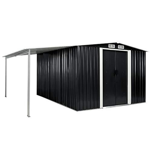 vidaXL Gerätehaus mit Schiebetüren verlängertem Dach Geräteschuppen Garten Schuppen Gartenhaus Gartenschuppen Anthrazit 386x312x178cm Stahl