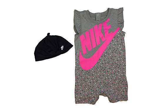 Nike Baby Girls Romper and Hat 2 Piece Set (Dark Grey Heather(16F10-042), 12 Months)