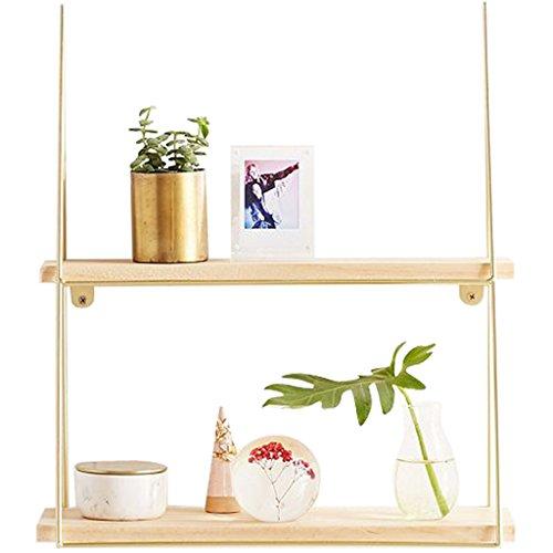 Étagères murales- Moderne Minimaliste Style Fer + Solide Bois Tenture Murale pour Salon Chambre Cadre Décoratif Taille: 40 * 15 * 45 Cm