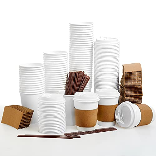 [100 Pack] 12 oz Paper Coffee Cups, Disposable Paper Coffee...