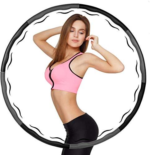 HUAXF Hula Hoop para adultos con peso Hula Hoop colorido Hula Hoop portátil para principiantes, deportes, yoga, ejercicio interior extraíble, gris y negro