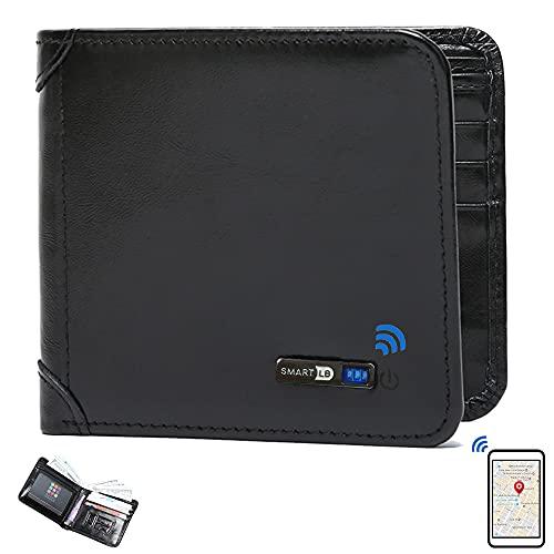 Smart Anti-Lost Wallet Bluetooth Tracker, Position Record (Via Phone GPS), Bifold Cowhide Leather Men Wallets Smart LB (Black)