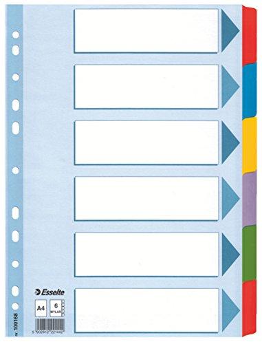 Esselte Register für A4, Deckblatt und 6 Trennblätter mit Taben, Blau/Mehrfarbig, Recyclingkarton, 100168