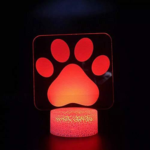 Huellas de oso de dibujos animados dominantes lámpara de mesa pequeña creativa base agrietada lámpara de mesa pequeña decorativa creativa luz LED acrílico luz nocturna multicolor luz de visión 3D
