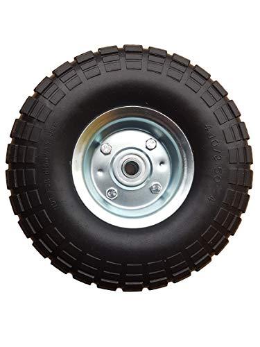Frosal PU Rad Bollerwagen Ø 260 mm 4.10/3.50-4 | Ersatzrad Reifen Sackkarre | Achse 16 mm | pannensicher mit Kugellager | Stahlfelge Silber