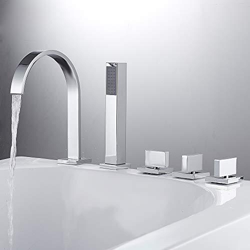 SURFMALL Chrom 5 Loch Armatur Einhebel Wannenrandarmatur Einhebelmischer mit Handbrause Duschsystem für Bad Badenzimmer Badewanne Waschbecken
