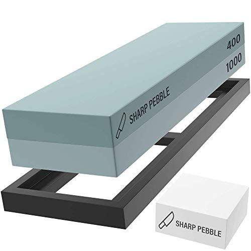 Sharp Pebble Premium Knife Sharpening Stone 2 Side Grit 400/1000 Waterstones-Whetstone Knife Sharpener with Flattening Stone & NonSlip Rubber Base